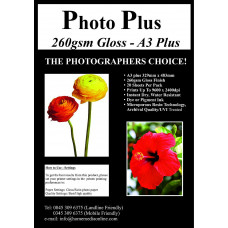 Photo Plus Photo Paper A3 Plus - 260gsm Premium Gloss Coated, 20 Sheets.